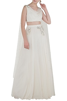 Ivory Embroidered Drape Blouse with Lehenga Skirt by Pernia Qureshi