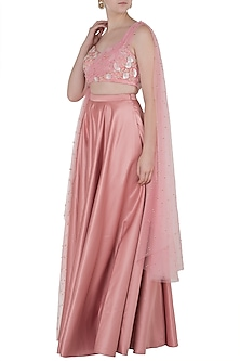 Pink Embroidered Drape Blouse with Lehenga Skirt by Pernia Qureshi
