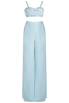 Pastel Blue Embroidered Bustier with Palazzo Pants and Sequins Cape