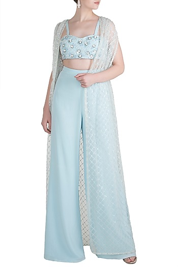 Pastel Blue Embroidered Bustier with Palazzo Pants and Sequins Cape by Pernia Qureshi