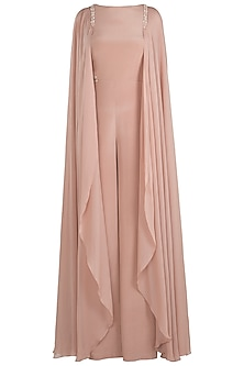 Dusky Peach Embroidered Drape Sleeves Jumpsuit