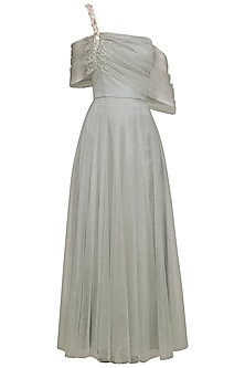 Grey Embroidered Drape Anarkali Gown Set
