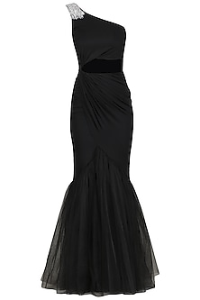 Black Embroidered Drape Gown