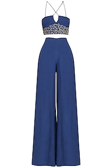 Navy Blue Embroidered Bustier With Palazzo Pants Set