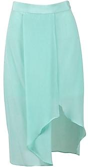 Aqua Draped Pencil Skirt