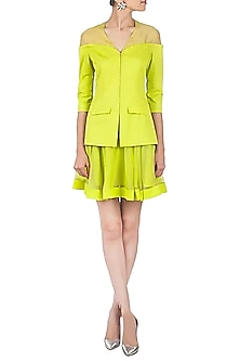 Chartreuse Sheer Shouldered Panel Blazer  by Pernia Qureshi