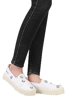 White Flower Motifs Slip On Shoes