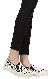 Black and White Lace Slip On Shoes