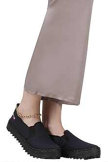 Black Slip On Shoes with Attached Gold Chain