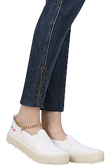 White Slip On Shoes with Attached Gold Chain