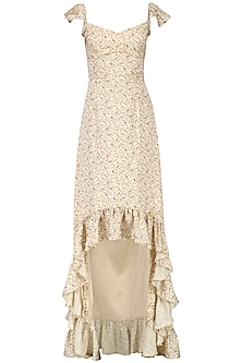 Beige Paisley Print Ruffled Maxi Dress