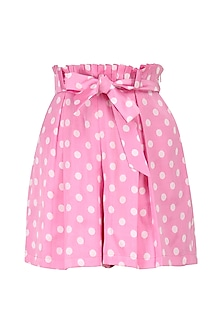 Pink Polka Dotted Shorts by Pernia Qureshi