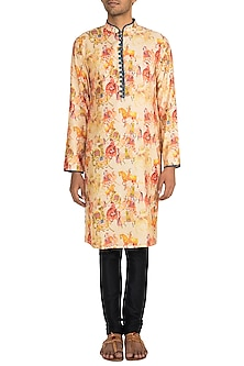 Yellow Horse Printed Kurta by Pranay Baidya Men