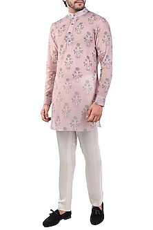 Pink & Grey Printed Short Kurta by Pranay Baidya Men
