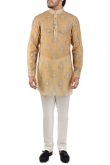 Yellow & Grey Printed Short Kurta by Pranay Baidya Men