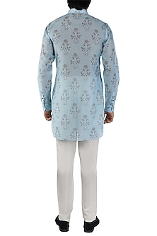 Blue & Grey Printed Short Kurta by Pranay Baidya Men