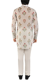 Light Grey Floral Printed Short Kurta by Pranay Baidya Men