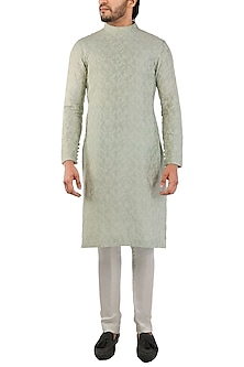 Green Embroidered Kurta by Pranay Baidya Men