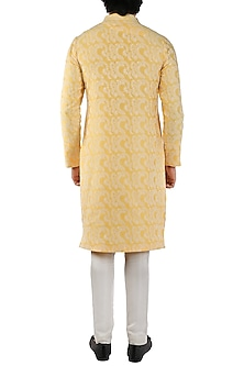 Yellow Embroidered Kurta by Pranay Baidya Men