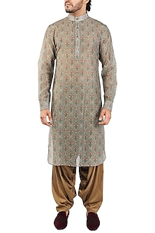 Dark Grey Printed Pathani Kurta by Pranay Baidya Men