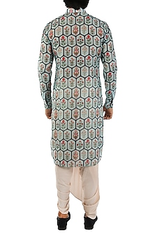 Charcoal Blue Printed Kurta by Pranay Baidya Men