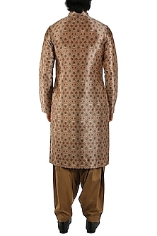 Antique Gold Printed Kurta by Pranay Baidya Men