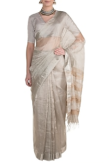 Silver Metallic Saree by Pranay Baidya
