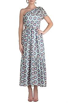Multi Colored Printed One Shoulder Maxi Dress by Pranay Baidya