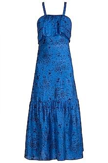 Blue Block Printed Cocktail Dress by Pranay Baidya