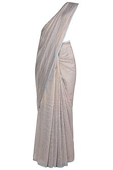 Ice Blue & Gold Striped Saree by Pranay Baidya