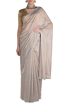Ice Blue & Gold Striped Saree by Pranay Baidya
