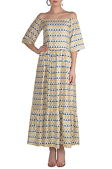 Multi Coloured Printed Off Shoulder Maxi Dress by Pranay Baidya