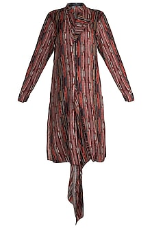 Multi Colored Striped Drape Long Kurta by Pranay Baidya