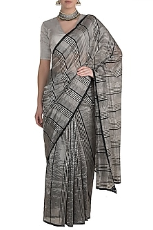 Black & Silver Striped Saree by Pranay Baidya