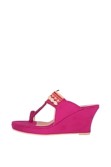 Pink Mirror Embroidered Kolhapuri Wedges by Preet Kaur