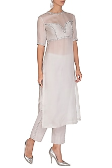 Grey Embroidered Kurta With Pants by Priyal Prakash