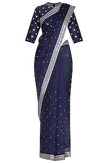 Navy Blue Embroidered Saree Set by Priyal Prakash