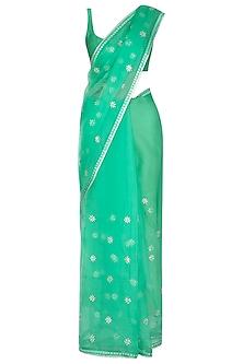 Emerald Green Embroidered Saree Set by Priyal Prakash