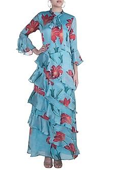 Blue Printed Layered Ruffle Dress by Prints By Radhika