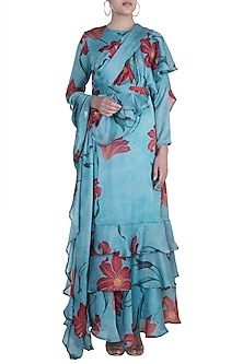 Blue Printed Ruffled Saree Gown by Prints By Radhika