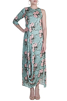 Green Printed Cowl Draped Dress by Prints By Radhika