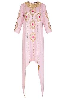 Baby Pink Embroidered Asymmetrical Kurta by Param Sahib