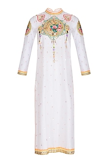 White Floral Embroidered Chanderi Tunic by Param Sahib