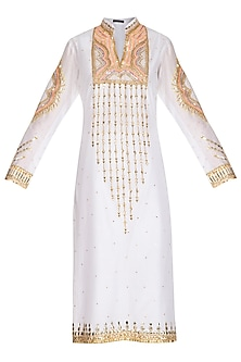 White Hand Embroidered Tunic by Param Sahib