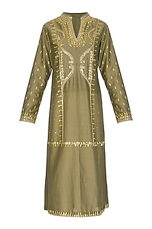Olive Green Hand Embroidered Tunic by Param Sahib