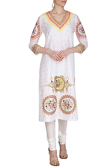 White Hand Embroidered Cotton Tunic by Param Sahib