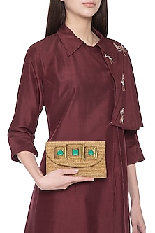 Antique gold embroidered clutch bag by PRACCESSORII
