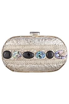 Silver metal embellished capsule clutch bag by PRACCESSORII