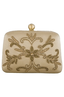 Gold embroidered sling clutch bag by PRACCESSORII