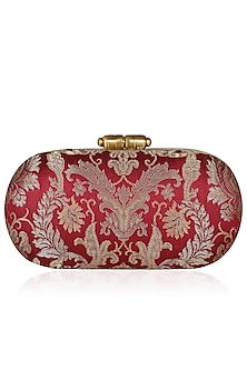 Maroon and Gold Floral Pure Brocade Capsule Minaudiere by PRACCESSORII